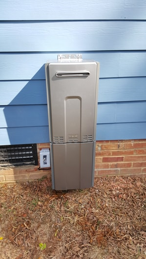 Tankless water heater exterior install