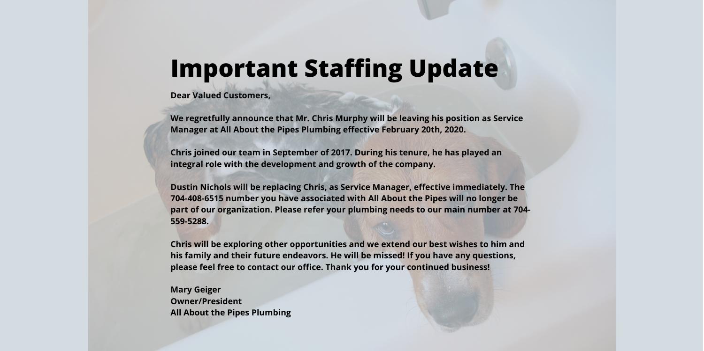 Charlotte Plumbing Staff Update